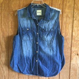 Soft Mudd Blue Jean Denim Vest XL